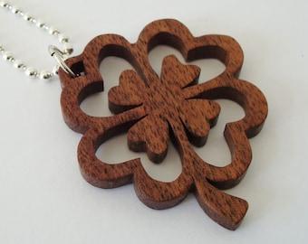 Four Leaf Clover Shamrock Necklace St. Patrick's Day Ireland Walnut Hand Cut Scroll Saw Pendant