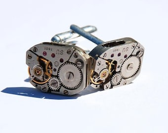 Matching Square Steampunk Cufflinks - Vintage Russian Luch Watch Movements