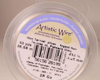 Artistic wire 28 gauge: copper core, silver-plated, non-tarnish
