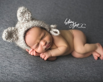 Newborn Hat with Ears, Baby Animal Hat, Knit Animal Hat, Animal Bonnet, Newborn Photo Prop, Baby Animal Bonnet, Crochet Bonnet with Ears