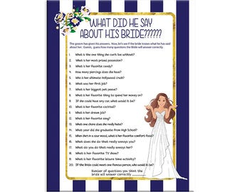 Blue Stripe, What did he say about his Bride, Bridal Shower Game, Confused Bride, Couples, Instant Download
