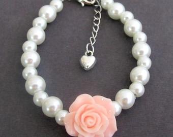 Rose Flower Braclet,Flower Girl Bracelet,Lite Pink Rose Flower,Pearl kids Bracelet,Ask Flower Girl,Flower Girl Jewelry, Free Shipping In USA
