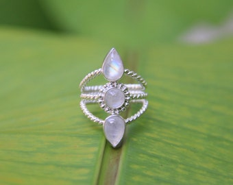 Alaya Bala Ring, Moonstone ring, Sterling Silver ring, 925, Sunsara Jewellery, Statement Ring