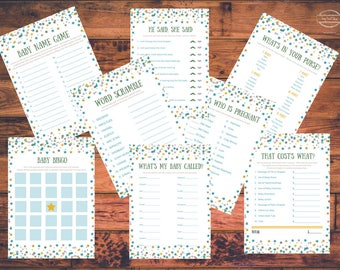 Printable Little Star Baby Shower Game Package | 8 Baby Shower Games | Instant Download