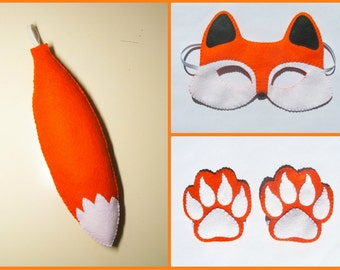 Fox mask tail paws cuffs set Orange White felt handmade soft forest animal costume kids dress up play accessory photo props Theatre roleplay