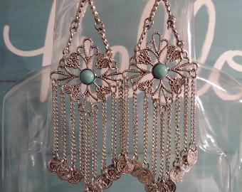 Bohemian Style Dangle Earrings w/ Turquoise