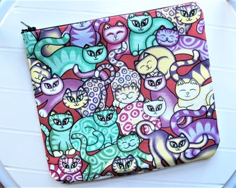 Green and purple Pouch for cat Toiletry bag
