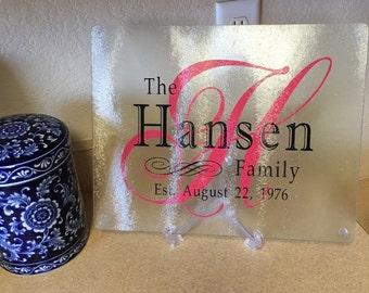 Personalized Glass Cutting Board, Glass Cutting Board, Wedding , Shower Gift, Anniversary Gift, Monogram Cutting Board, Custom Cutting Board