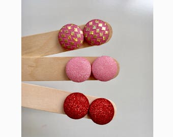 19mm Faux Leather Fabric Button Stud Earrings • Surgical Steel • Hypoallergenic • Pink Glitter • Red Glitter • Pink Gold Diamond