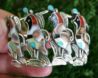 Sterling silver Native American quail cuff bracelet