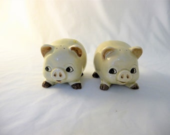 Vintage Otagiri Pig Salt and Pepper Shakers With Smiling Faces and Curly Tails