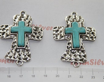 2  pcs - 55x37mm Hammered Cross Link with Turquoise Antique Silver Lead Free