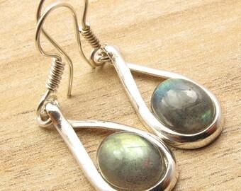 Labradorite Earrings - Sterling Silver Labradorite Earrings - Gemstone Earrings - Labradorite Jewelry- indian Jewelry