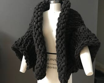 Super Chunky Knit Brown Midland Jacket