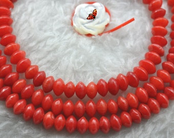Red Coral smooth rondelle beads 2x4mm,15 inches