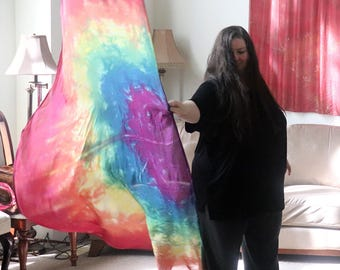 "Prophetic - Silk Flag - Worship Flag - Praise Dance - Dyed Silk - Swing Flag - Single Large Rainbow Swing Wing 45x72"" called Covenant"