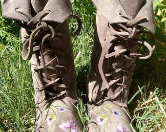 Flower Fairy Boots/Handmade Moccasins Gray Suede with rubber soles/flowers Order Your Size