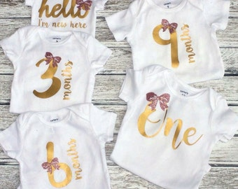 First Year Body Suits, Baby Shower Gift, Gift for Expectant Mom, Girl, Gift, Rainbow Baby, Hello I'm New here, 3 Mos, 6 Mos, 9 Mos, 1 year