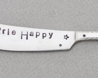 BRIE HAPPY Silver Plate Spreader. Brunch Table Decor. Hand Stamped Butter Jam Peanut Butter Spreader. Hostess Gift. STAR Stamps. Mothers Day
