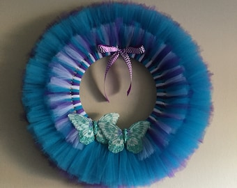 Teal and Purple Butterfly wreath