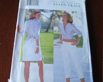 Butterick 6644 Linda Allard Ellen Tracy Sewing Pattern Pants Capris Blouse and Skirt size 6 8 10