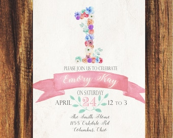 Floral First Birthday Invitation//FREE SHIPPING// Girls Birthday, Watercolor, Floral, Second, Third Birthdays, Pink, Rustic