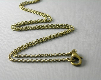 CHAIN-AB-2MMx1.5MM - Grade A Solid Antiqued Brass Necklace - Soldered Links - Choose your length