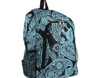 Backpack paisley blue ,personalized Backpack, Monogram Bookbag, Girls Backpack, Pink Backpack, Kids Backpack, School Backpack
