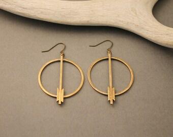 Shenandoah brass circle earrings with arrow details- minimalist, boho, statement earrings