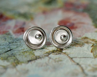 Round, stud earrings, organic, handmade, sterling silver, everyday, layered, disc, textured, gender neutral,