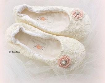 Girl Ballet Flats, Blush, Ivory, Flower Girl Flats, Ballet Shoes, Girl Ballet Slippers, Girl Birthday Flats, Girl Ballet Slippers