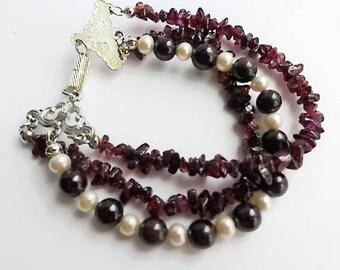 Red garnet bracelet, red bracelet, January birthstone bracelet, pearl bracelet, magnetic clasp bracelet, ladies bracelet, unique bracelet