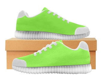 Go Go vert | LED Light Up chaussures | Hommes & femmes tailles | Tige extensible haute | Semelle intérieure en tissu | Recharger | Choisissez noir ou blanc garniture