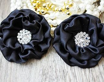 "2pcs Black 3"" Matte Satin Flowers -Layered Fabric Flowers - Embellished Flowers - Large Satin Fabric Flowers - Hair accessories"