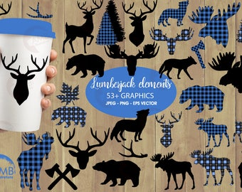 Lumberjack clipart, blue Buffalo plaid clipart, 54 Forest animal silhouettes, Moose, Trees, Wolf, Deer, Bear, Antlers,  AMB-2359