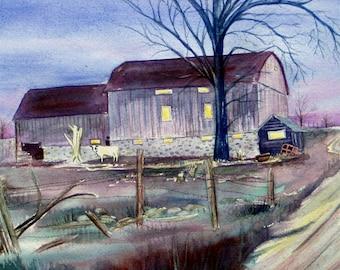 barn painting, original watercolor, Michigan landscape, farmyard art, Petoskey farm art, twilight, dusk, violet