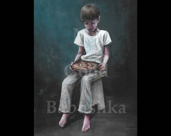 Stargazy Pie, Original Painting, Pie, Fish, Pastry, Food, Surreal, Child, Boy, Portrait, Odd, Strange