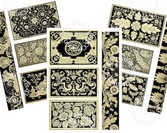 Just the Basics, Black and White Elegance Printable Journal Ephemera, Vintage Junk Journal