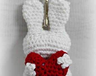 Key fob hand made crochet white Bunny.