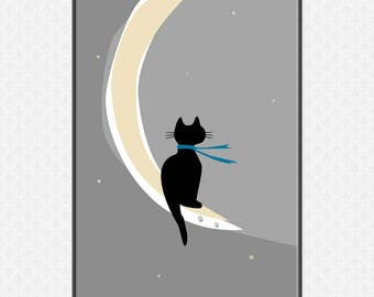 Cat on the Moon Art Print | Large printable poster | Made to Order Wall Art | PDF digital file
