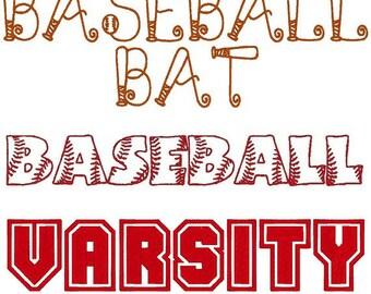 Set of 3 PES ONLY Baseball Bat, Baseball, Varsity Machine Embroidery Monogram Font Sets