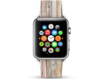 Apple Watch Band 38mm, women Apple Watch band 42mm for series 1 ,2 & 3, wood print Apple Watch Strap genuine Calf Leather Wrist Band for her