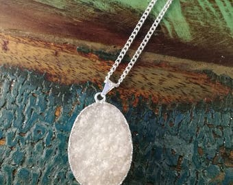 White Druzy Quartz, Druzy Quartz Necklace, Stone Necklace