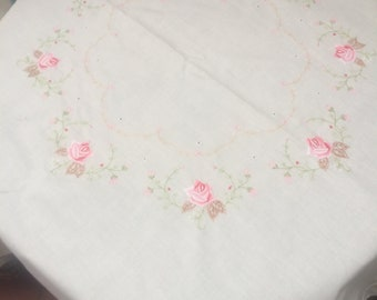 Rose  embroidered tablecloth 80cm x 80cm