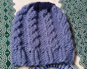 Cable bulky hat for women, handmade knitware, winter hat, blue with dark blue