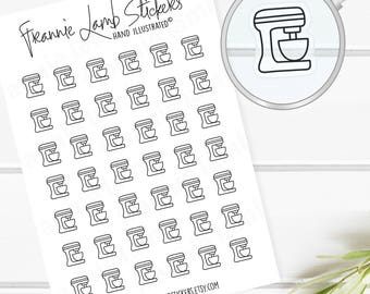 42 TINY CLEAR Mixer Planner Stickers, Clear Matte Stickers, Baking Stickers, Planner Stickers, Transparent Stickers, Cooking Stickers