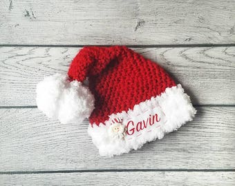 Toddler Santa Hat - Personalized Santa Hat -  Christmas Hat - Personalized Hat - Santa Hat - Newborn Santa Outfit - Newborn Santa Hat