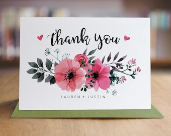Personalized Thank You Note Card Set /  Watercolor Flowers Thank You Cards / Set of 10 Folded Shimmer Note Cards - T208