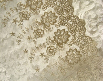 ivory lace fabric, embroidered lace fabric, retro bridal lace, vintage lace fabric, scalloped lace