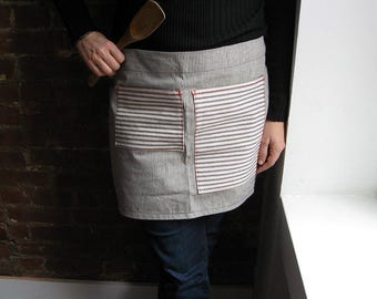 Waist Apron Cafe style in Railroad Stripe Denim with Contrast Red Stitching 2 Pockets Barista Womens and Mens Bistro